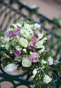 wedding bouquet in cream and purple