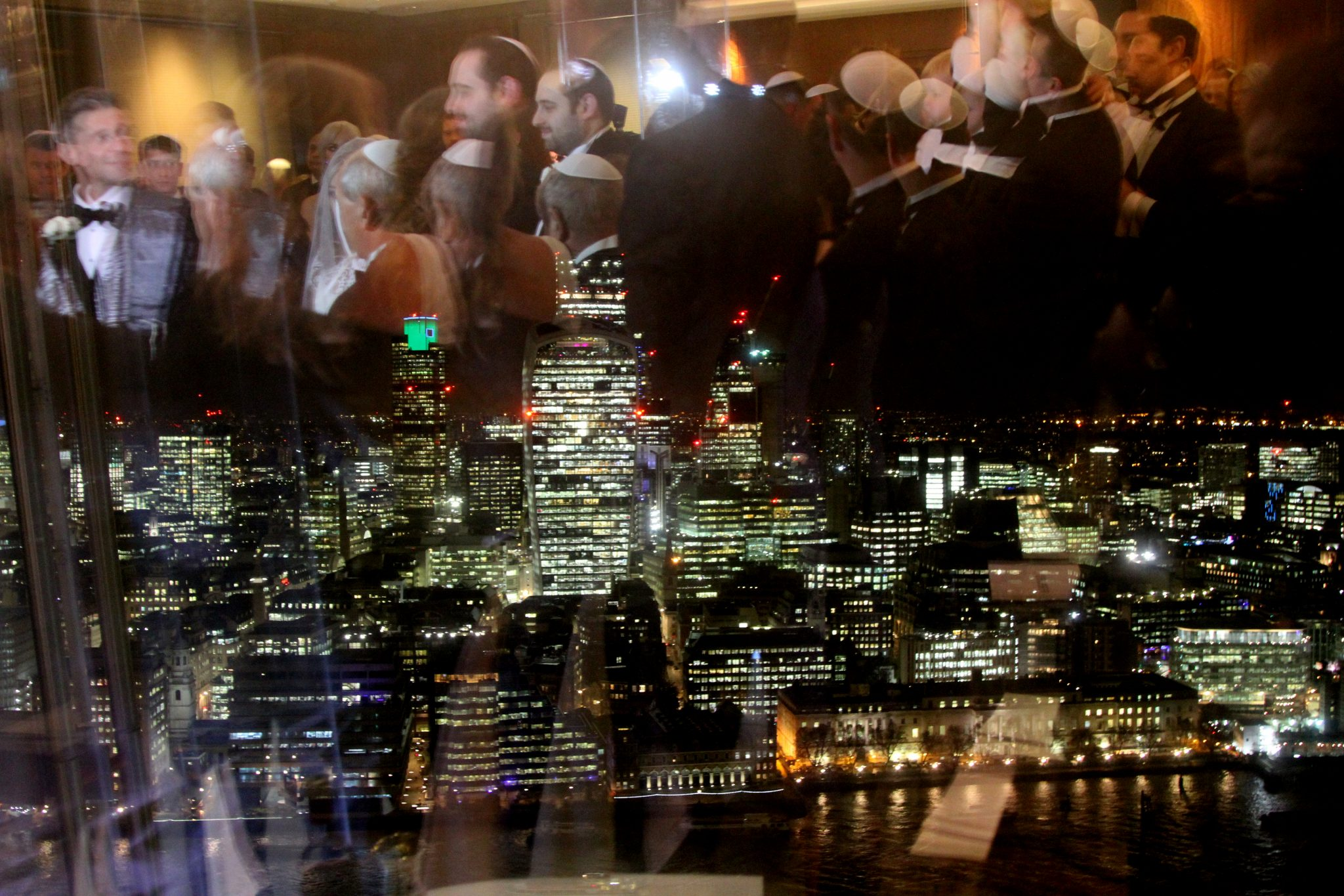 refelction in widnow of ceremony at The Shangri-La Hotel, The Shard.