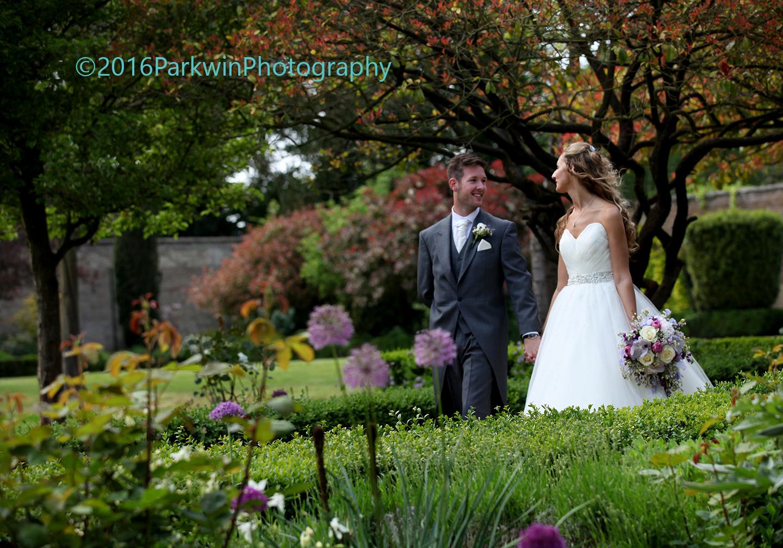 bride and Groom, walled garden, Hanbury Manor