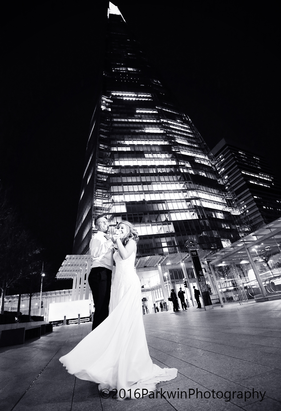 Bride and Groom dancing outside The Shard
