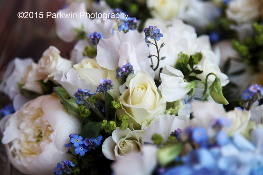Blue and cream wedding bouquet