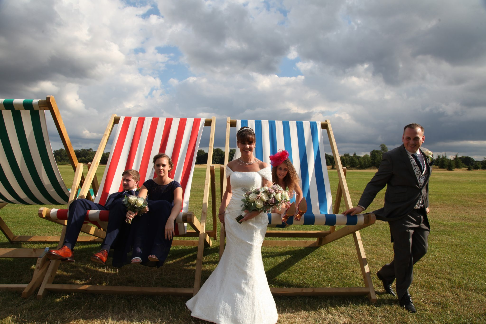 wedding party in deck chairs, The Grove.