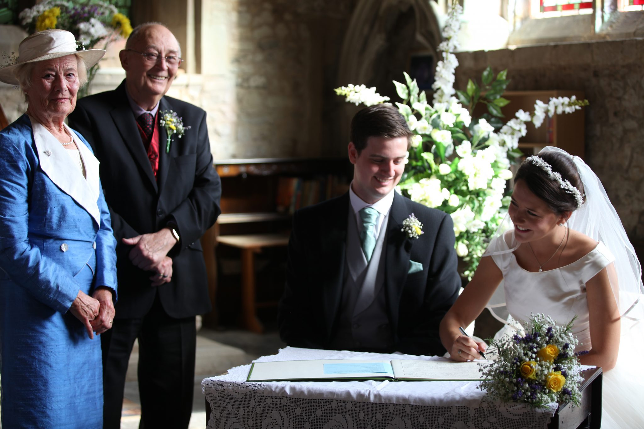 Signing the register, All Saints Marsworth
