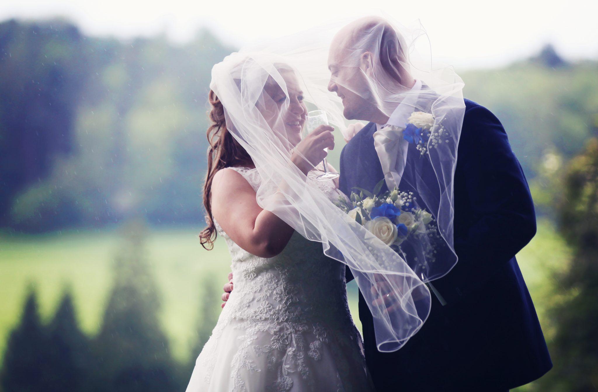 bride and Groom enjoy champagne, Latimer Place