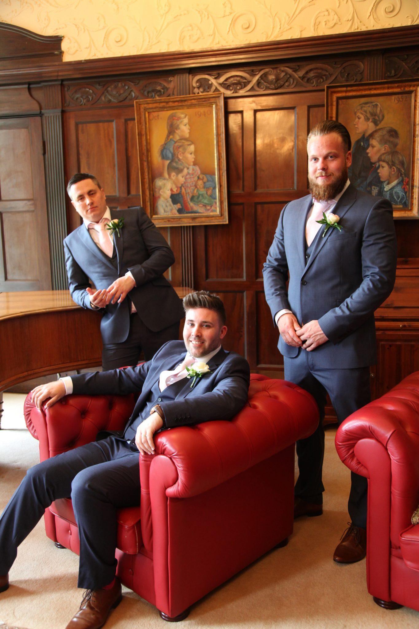 groom and groomsmen at High Elms Manor