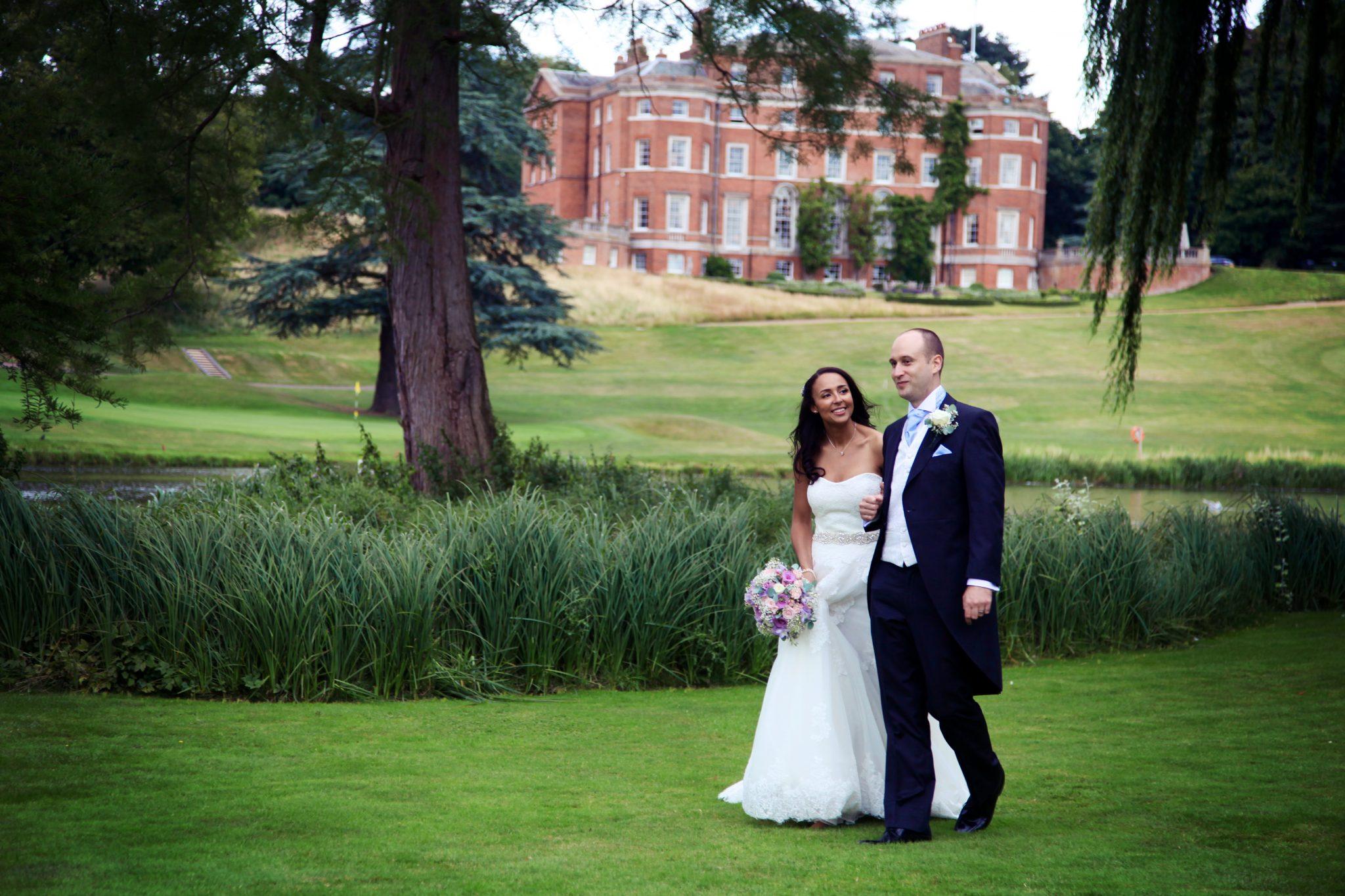 bride and groom at Auberge du Lac, Brocket Hall