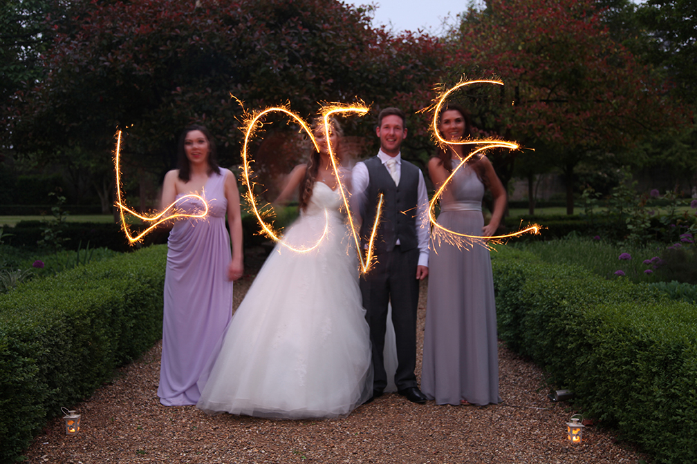 Wedding sparklers spell love at Hanbury Manor