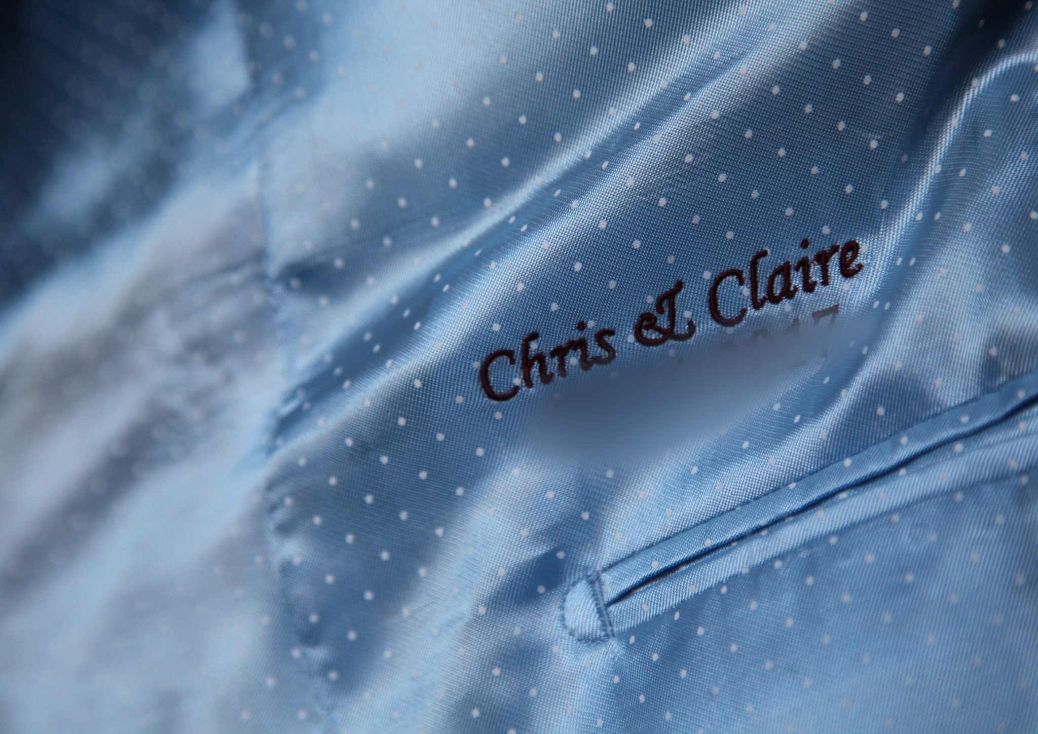 Wedding Grooms jacket embrodered with names