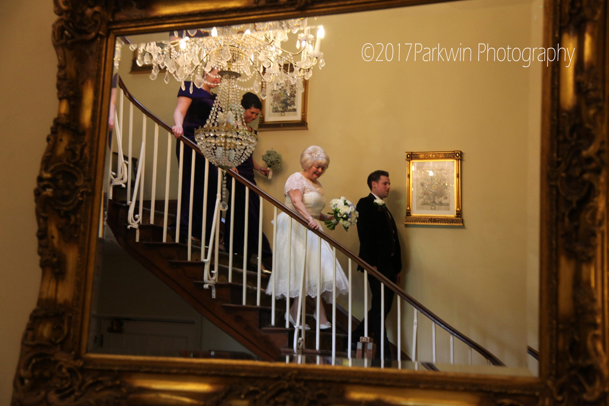 bride walking to ceremony at Offley Place