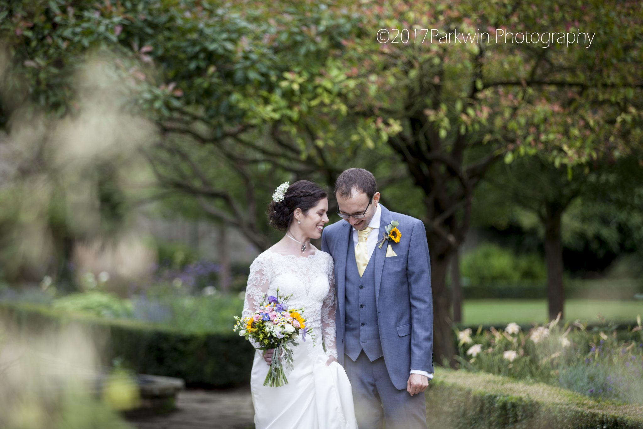 bride and groom at Hanbury Manor